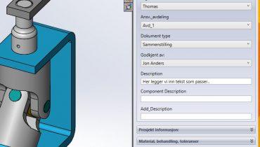 Bruk SOLIDWORKS taskpane til Custom Properties.