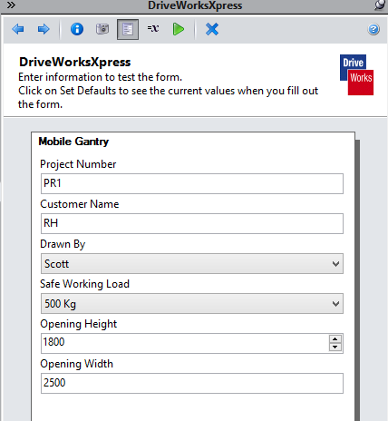 DriveWorks Form