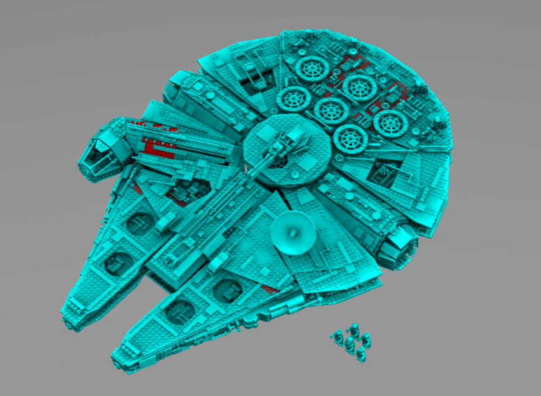 Lego-Millennium Falcon i gode til onde lyssverdfarger, vha. Assembly Visualization
