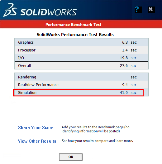 solidworks performance test results