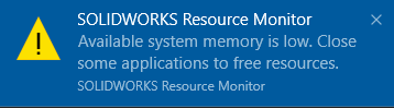 available system memory is low. Close some applications to free resources
